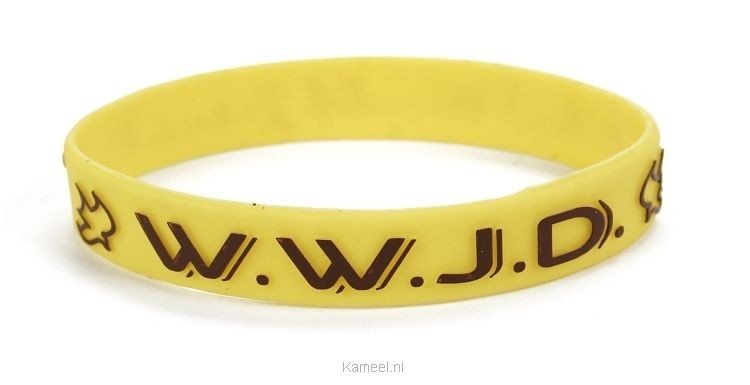 Grote afbeelding Armbandje geel WWJD duif Silicone