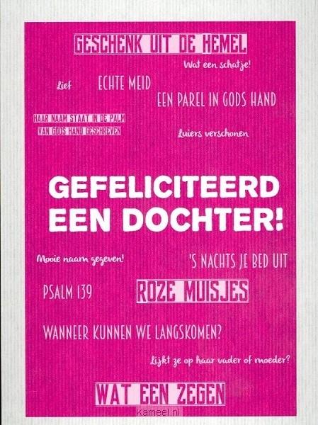 Genoeg Kaart gefeliciteerd een dochter | Leef! | Kaarten | Kameel.nl &MD71