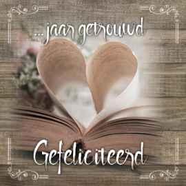getrouwd gefeliciteerd Kaart  jaar getrouwd gefeliciteerd | Brocante | Kaarten | Kameel.nl getrouwd gefeliciteerd