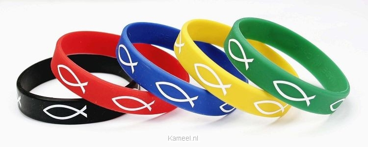 Grote afbeelding Armband rubber vis groen