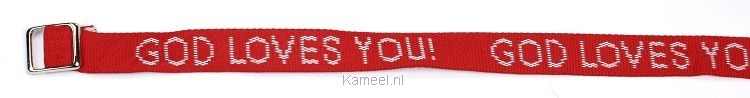Grote afbeelding Armbandje God loves you rood
